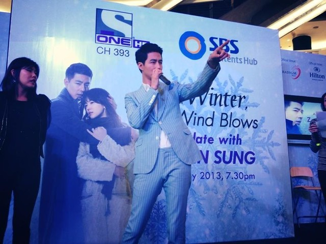 Jo In Sung Zo In Sung wishing Wen Yi happy birthday Paradigm Mall 21 May 2013