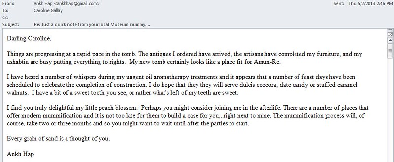 Emails from the other side: The Museum Mummy reaches out