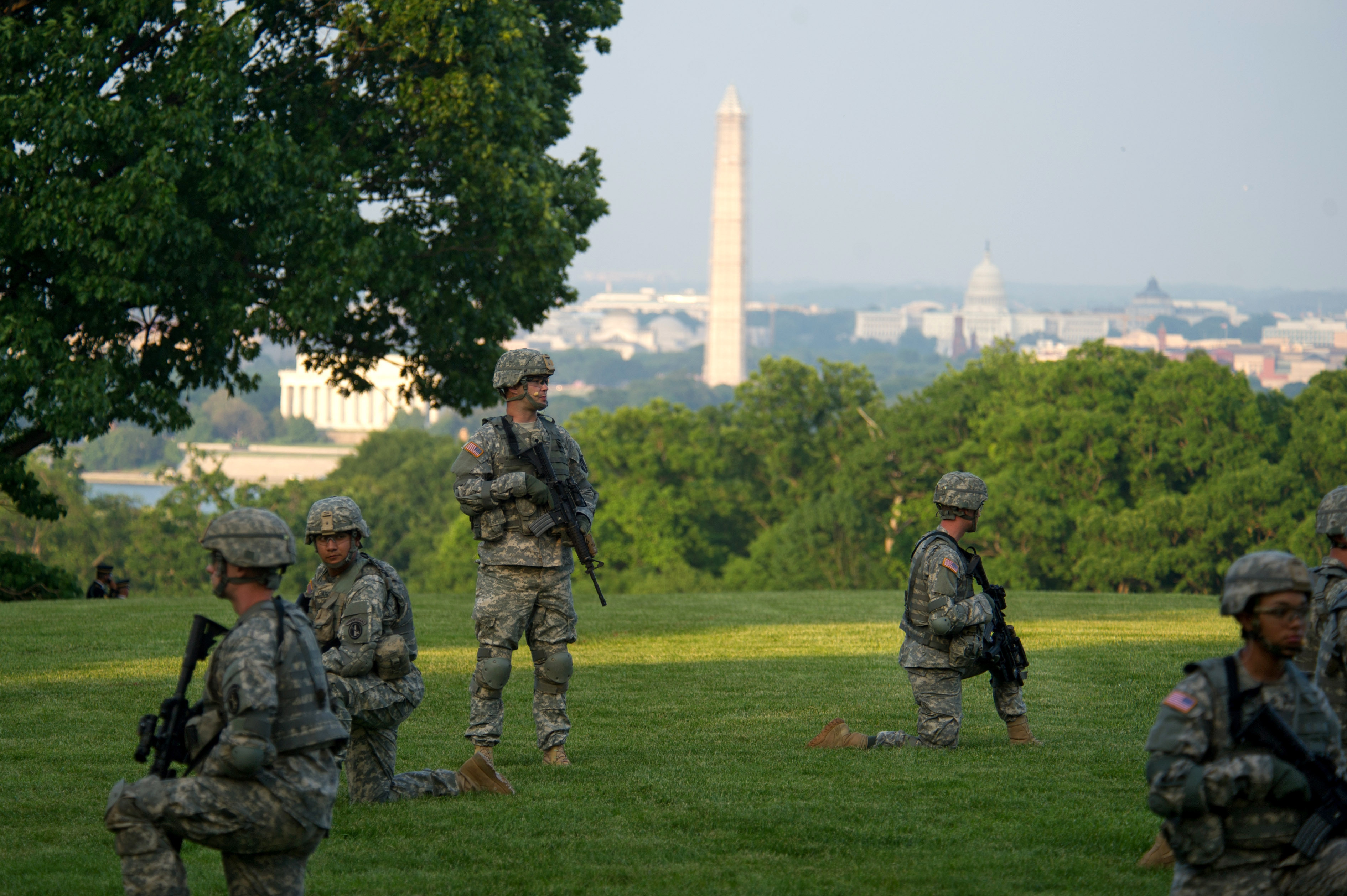 US Army soldiers at Joint Base Myer-Henderson Hall, Virginia overlooking Washington, D.C.