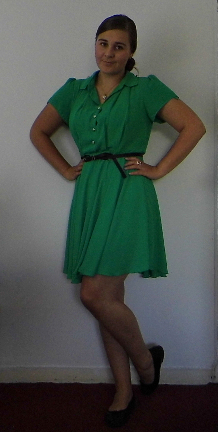 Green Tea Dress, Betty London flats