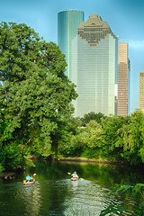 kayakers heading to downtown Houston