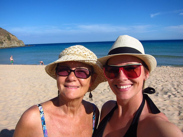 Mom and Daughter on the Beach in Chia