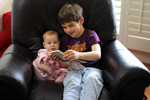 Walker reading to Lydia