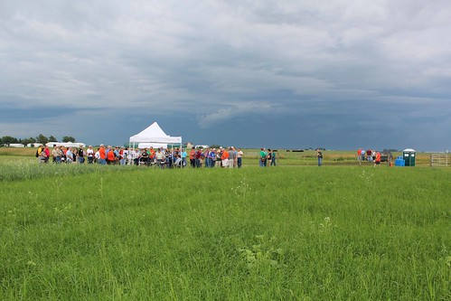 A stormy sky didn't deter the tour stations. Presenters discussed uses and mixtures of cover crops.