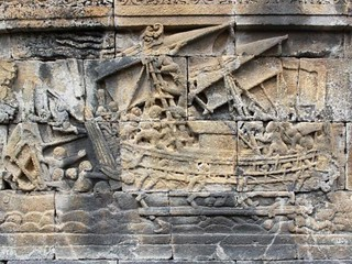 Relief depicting Ancient Dravidian Seafarers