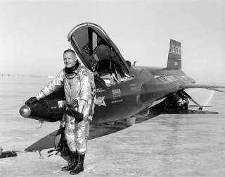 Pilot Neil Armstrong is seen next to the X-15