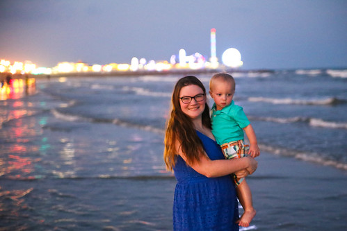 Mom and Toddler on Galveston Beach