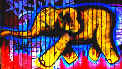 EL ELEFANTE AMARILLO HUYE DE LAS MANCHAS DE LOS GRAFITEROS IMPERTINENTES.(THE YELLOW ELEPHANT FLEES THE IMPERTINENT GRAFFITI STAINS.)