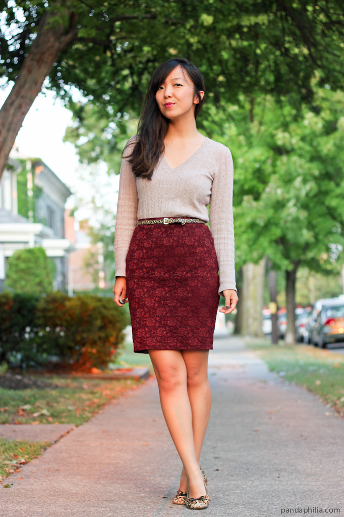 cable knit sweater lace pencil skirt leopard accents outfit