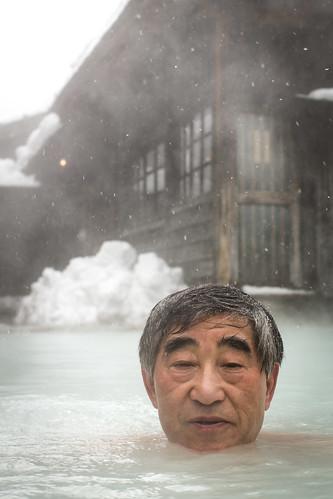 old snow man hot water face japan relax bath warm head events relaxing onsen aged relaxation 雪 akita 頭 水 老人 温泉 honshu 顔 男 暖かい 老 tsurunoyuonsen 鶴の湯 男の人 photomortenfalchsortland
