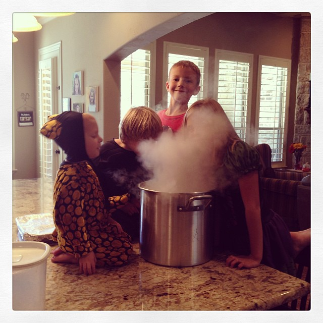 Halloween success. Homemade root beer. They could care less about the root beer but the dry ice is amazing!!!! #halloweenistoughonmoms