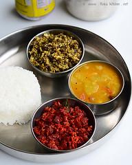 beetroot poriyal, chow chow sambar, vazhai poo poriyal