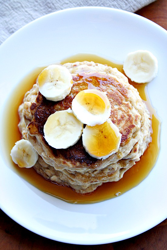 oatmeal pb and banana pancakes