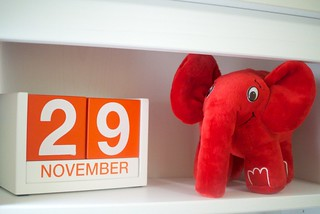 Red elephpant on the shelf