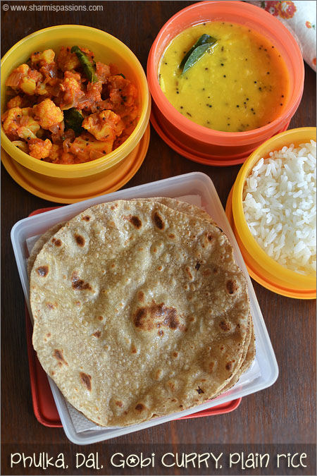 Phulka, Dal, Gobi Curry(Sabzi) and Plain Rice