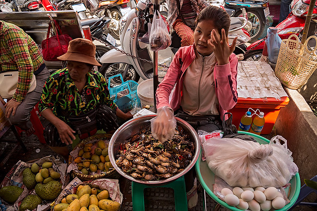 Typical scene at the Central Market (Psar Thmei) in Phnom Penh, Cambodia.