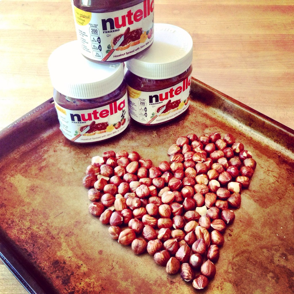 Nutella and hazelnuts heart