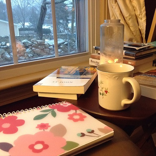 An early morning baby wake up call means an early start to the day. Candle light, God's Word and coffee make for a good quiet time while the snow (again) softly falls.     #ifequip #hellomorningcoffee