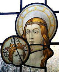 St Ethelbert with Christ stained glass