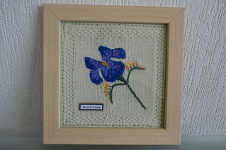 framed embroidered Iris on knitted background