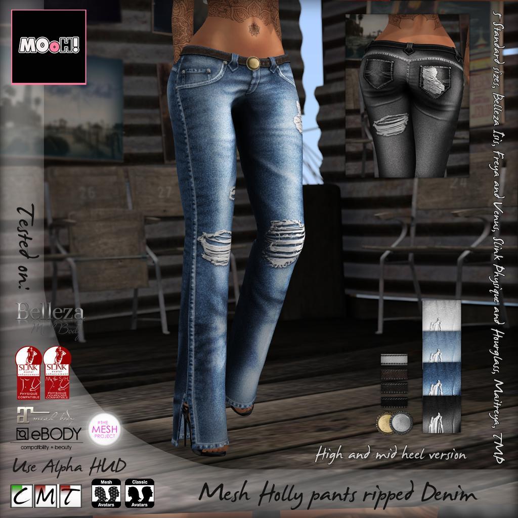 Holly pants ripped denim - SecondLifeHub.com