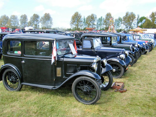 An large array of vintage Austin cars