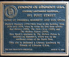 Photo of Dashiell Hammett brown plaque