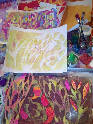 Mono prints with a gel printing plate