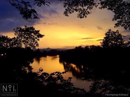 sunset sun river golden kolhapur