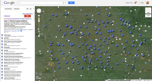 Iowa 1:1 School Laptop Initiatives - Google Maps