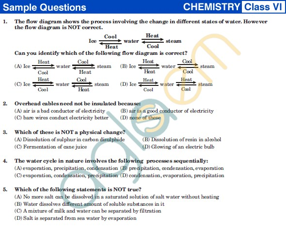 UCO 2013 Sample Papers for Class VI - Chemistry