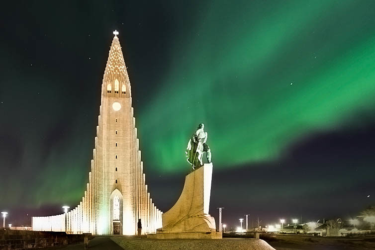 Northern Lights in Iceland over Hallgrímskirkja