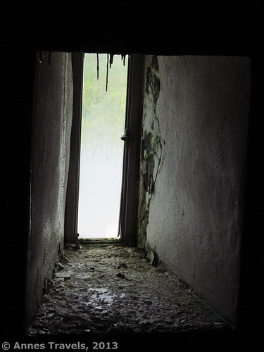 Some of the windows inside the monument have stalactites from the dampness, High Point State Park, New Jersey