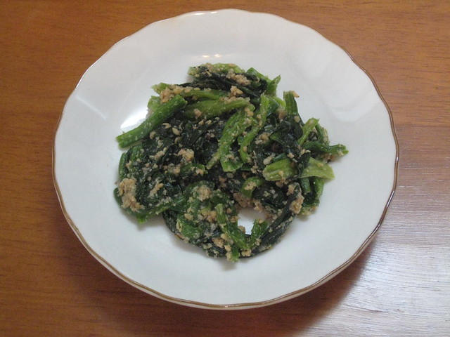 Horenso no goma-ae (Spinach with sesame dressing)
