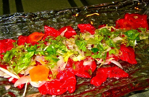 first course of beef carpaccio