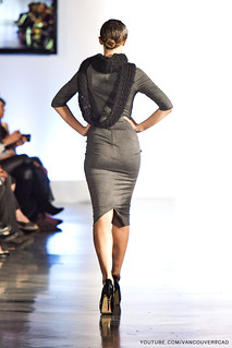 Eco Fashion Week Day 3 Evan Ducharme Fashion Collection Belladonna - grey knee high dress with scarf