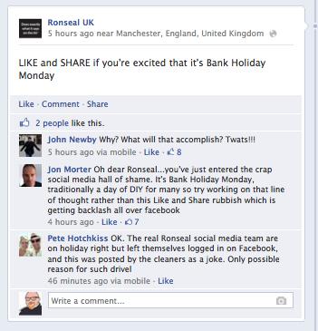 Ronseal Facebook Facepalm