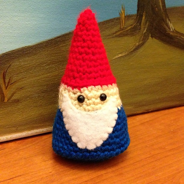 Crocheted gnome.