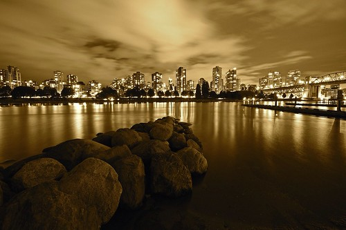 ocean city longexposure bridge light sky reflection art beautiful skyline sepia vancouver buildings reflections photography lights photo nikon rocks downtown cityscape foto view bridges citylights nikkor legacy westend burrardbridge photographyforrecreationeliteclub photographyforrecreationclassic