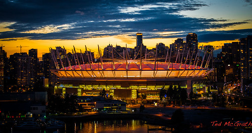sunset reflection vancouver stadium dome falsecreek vancouverbc false bcplace vancouvercity cans2s falsecreekeast tedsphotos