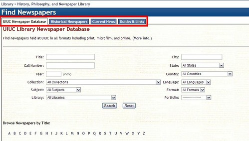 screencap of newspaper database