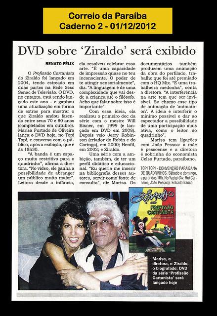 DVD sobre Ziraldo será exibido - Correio da Paraiba - 01/12/2012