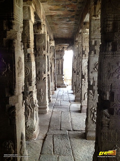 100 pillared Ranga Mandapa or Dance Hall, with Intricately sculpted pillars inside the Veerabhadra Swamy Temple at Lepakshi, in Andhra Pradesh, India