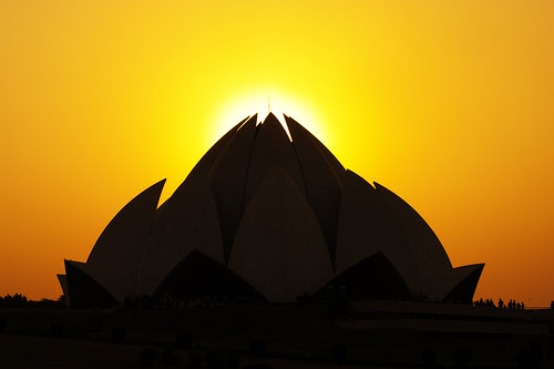 sunset orange sun india flower building silhouette architecture buildings asian temple asia day sundown lotus delhi indian sunny clear bahai modernarchitecture newdelhi bahaitemple southasia southasian