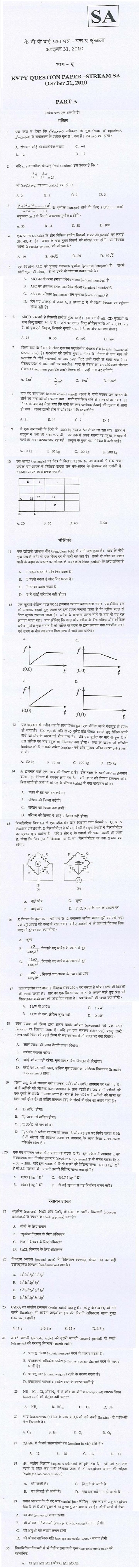 KVPY 2010 SA Part A Question Papers (Hindi Version)