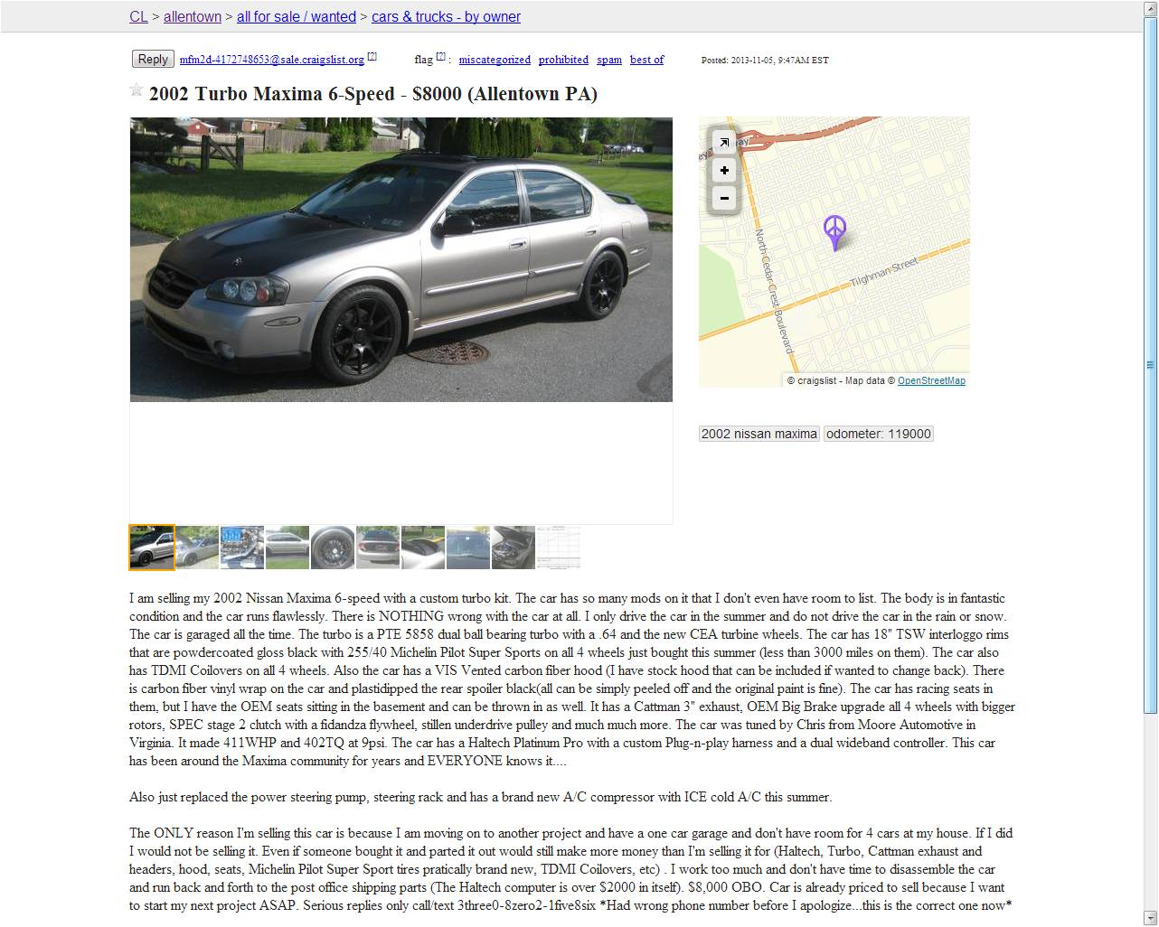 PA 2002 Turbo Nissan Maxima 6-speed $8,000