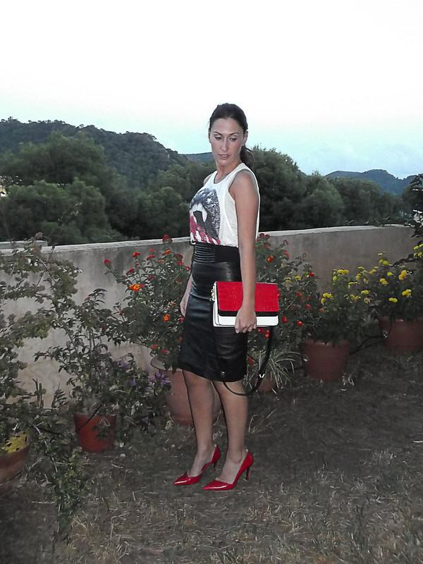 Piel, falda lápiz negra, camiseta, stilettos rojos, bolso tricolor, skin, black pencil skirt, t-shirt, red stilettos, tricolour bag
