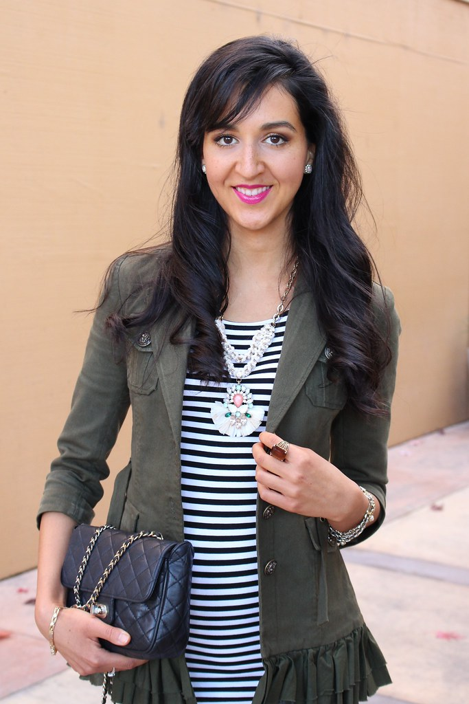 Military Jacket and a Striped Dress 3