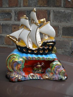 Kitsch 1950's Vallauris  Seascape / Sailboat TV Lamp