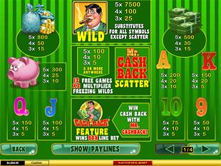 online slot machine game cashback scene